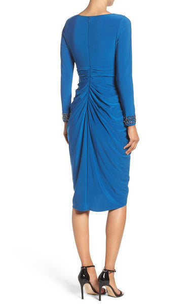 MACloth Long Sleeves V Neck Jersey Cocktail Dress Royal Blue Formal Gown
