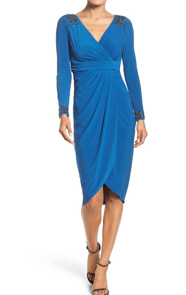 MACloth Long Sleeves V Neck Jersey Mother of the Brides Dress Royal Blue Formal Gown