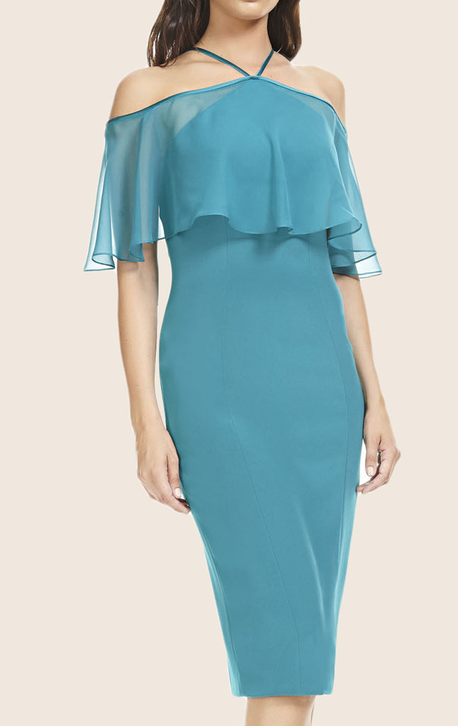 MACloth Off the Shoulder Sheath Cocktail Dress Turquoise Midi Formal Gown