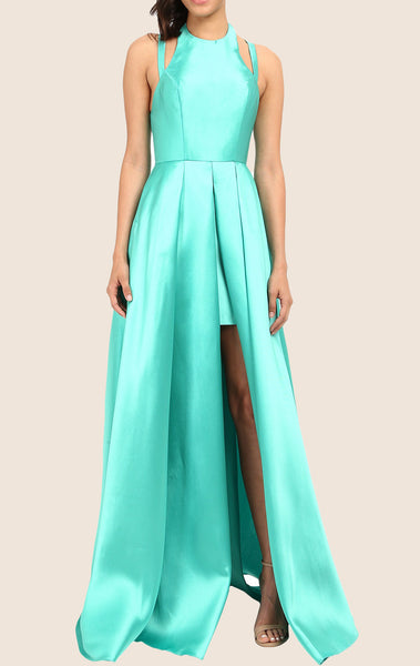 MACloth Halter High Low Taffeta Prom Dress Turquoise Formal Gown