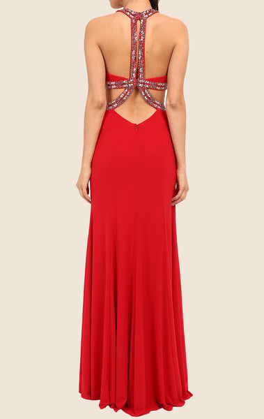 MACloth Halter Sheath Jersey Maxi Prom Dress Red Formal Gown with Slit