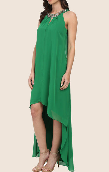 MACloth Halter High Low Chiffon Prom Dress Green Formal Gown