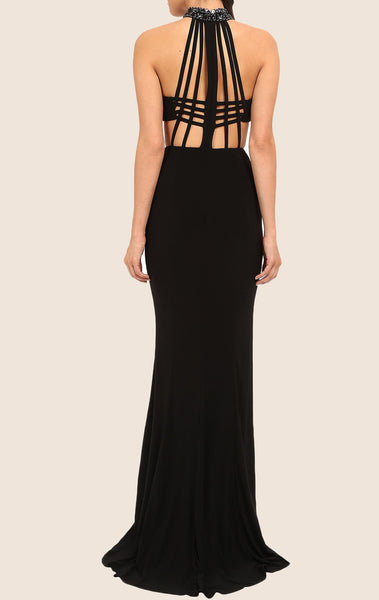 MACloth Mermaid Halter Jersey Maxi Prom Dress Black Formal Gown