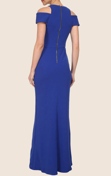 MACloth Sheath  Cap Sleeves Jersey Maxi Prom Dress Royal Blue Formal Gown