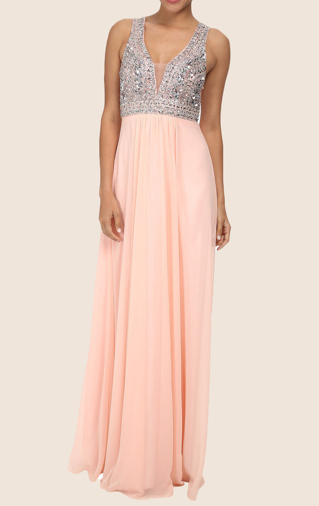MACloth Straps V Neck Crystals Chiffon Maxi Prom Dress Peach Formal Gown