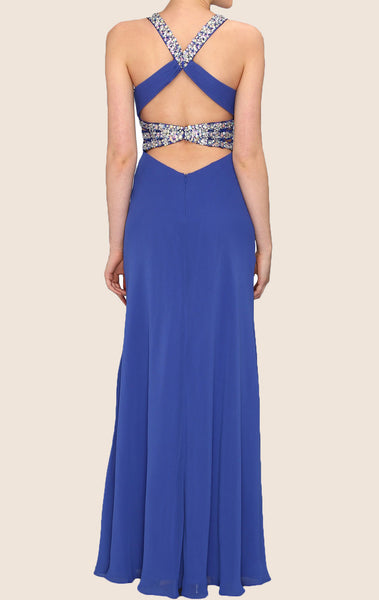 MACloth Straps V Neck Crystals Chiffon Long Prom Dress Royal Blue Formal Gown