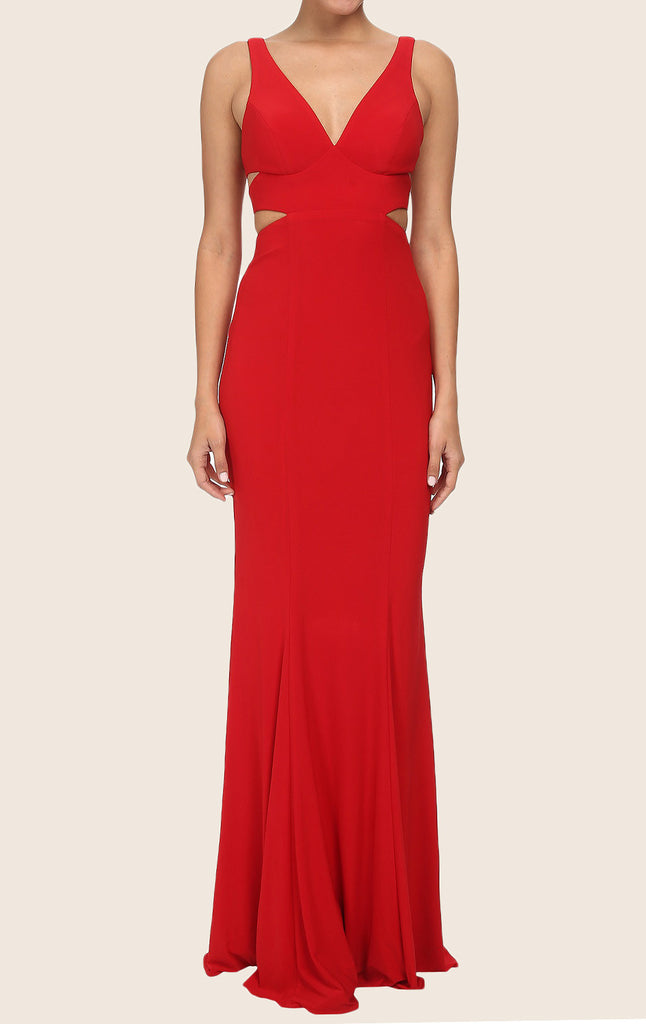MACloth Straps V Neck Sheath Maxi Prom Dress Red Jersey Formal Gown