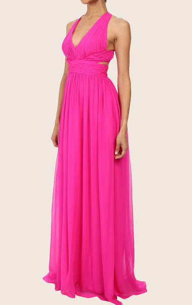 MACloth Straps V Neck Chiffon Maxi Prom Dress Fuchsia Formal Gown