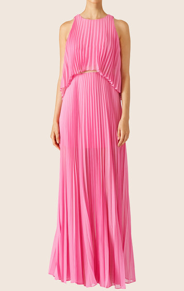 MACloth O Neck Tiered Chiffon Maxi Prom Dress Pink Formal Party Gown