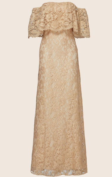 MACloth Off the Shoulder Lace Maxi Prom Dress Champagne Formal Party Gown