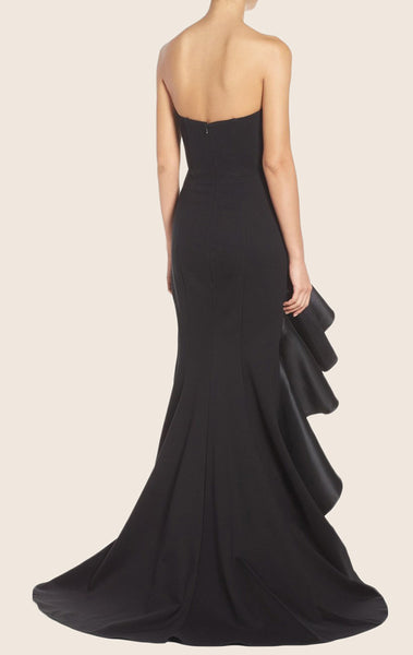 MACloth Mermaid Strapless Black Evening Gown with Ruffled Satin Formal Dress