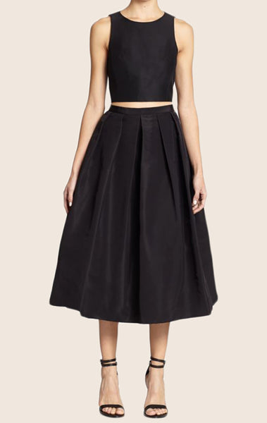 MACloth Two Piece Satin Cocktail Dress Black Midi Formal Party Gown
