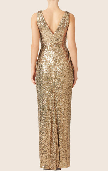 MACloth Straps V Neck Sequin Long Bridesmaid Dress Gold Formal Gown