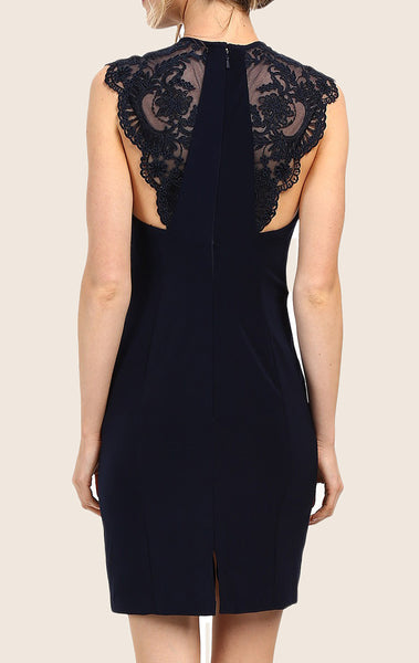 MACloth Lace Straps Jersey Cocktail Dress Little Black Dress