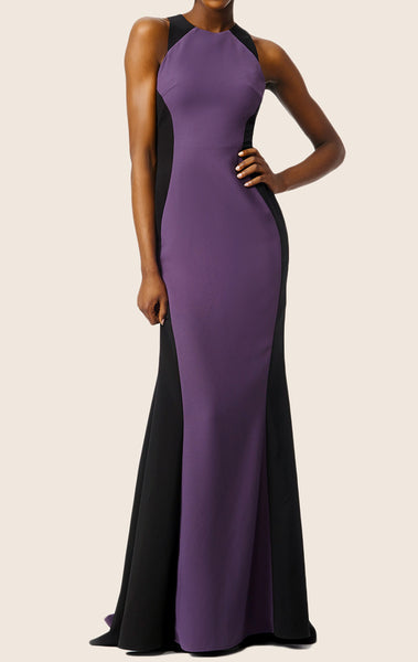 MACloth Two Tone Mermaid Straps O Neck Jersey Prom Dress Formal Evening Gown