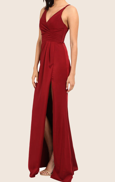 MACloth Straps V Neck Chiffon Long Prom Dress Red Formal Evening Gown