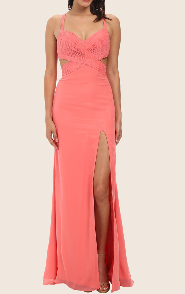 MACloth Straps V Neck Chiffon Prom Dress with Slit Formal Gown