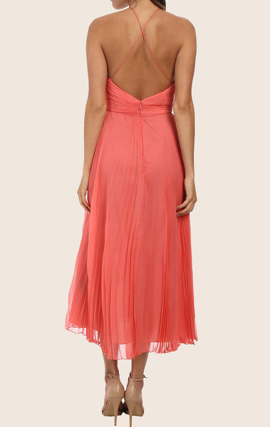MACloth Halter Tea Length Chiffon Cocktail Dress Midi Formal Gown