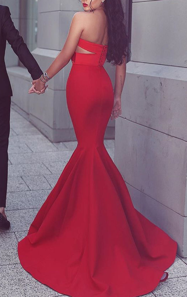 MACloth Mermaid Strapless Satin Long Prom Dress Red Formal Gown Cut ou