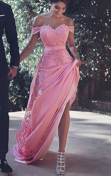 MACloth Off the Shoulder Lace Jersey Long Prom Dress Pink Formal Gown