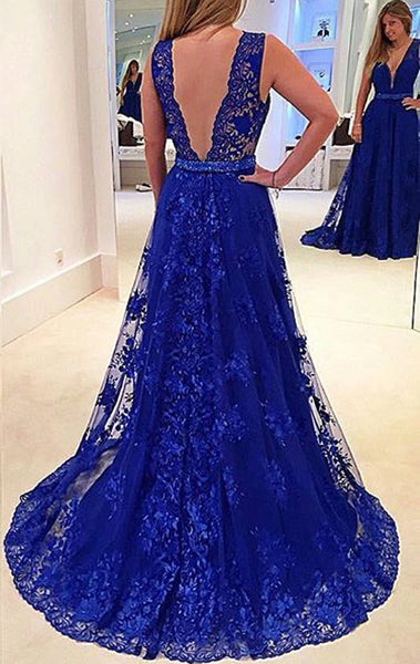 MACloth Straps V Neck Lace Long Prom Dress Royal Blue Formal Gown