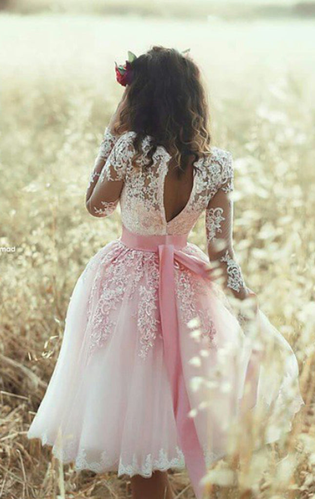MACloth Long Sleeves V Neck Lace Tulle Cocktail Dress Pink Short Prom Dress