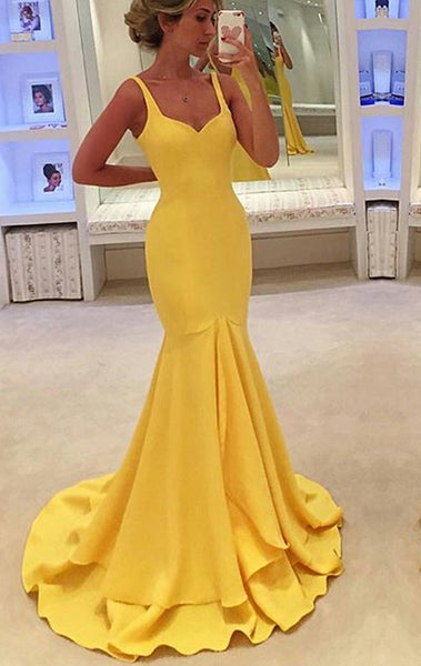 MACloth Mermaid Straps V Neck Tiered Maxi Prom Dress Yellow Jersey Formal Gown