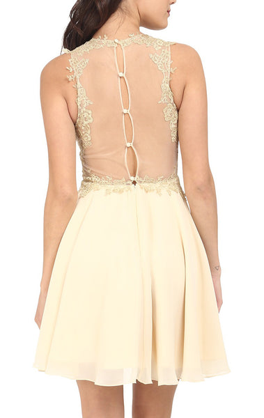 MACloth O Neck Chiffon Lace Mini Prom Homecoming Dress Champagne Formal Gown