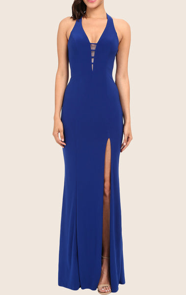 MACloth Mermaid Halter V Neck Long Prom Dress Royal Blue Formal Gown