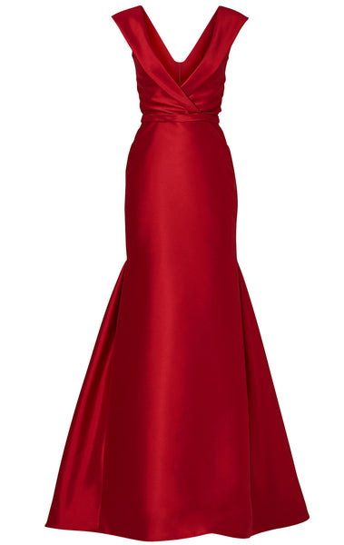 MACloth Mermaid Straps V Neck Satin Red Evening Gown Simple Prom Dress