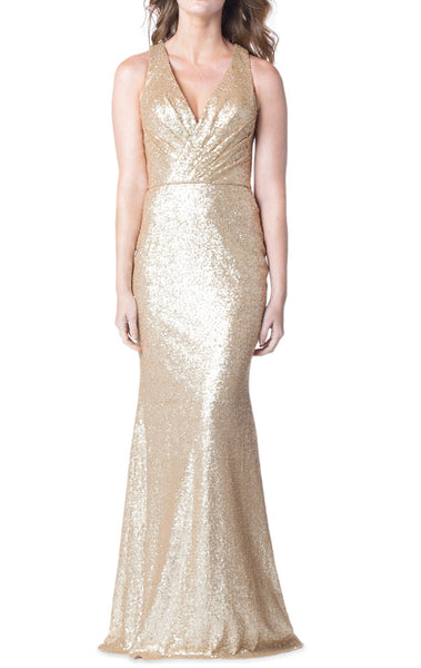 MACloth V Neck Sequin Long Bridesmaid Dress Sheath Formal Evening Gown