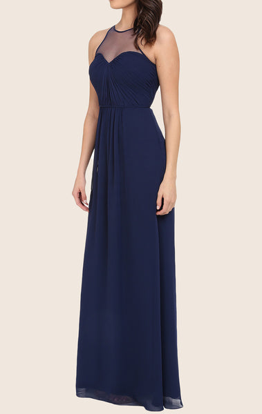 MACloth Straps Chiffon Long Prom Dress Dark Navy Formal Gown