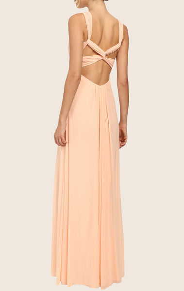 MACloth Halter Chiffon Long Prom Dress with Cross Back Peach Formal Gown