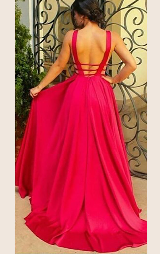 MACloth Straps V Neck Satin Ball Gown Long Prom Dress Red Formal Gown