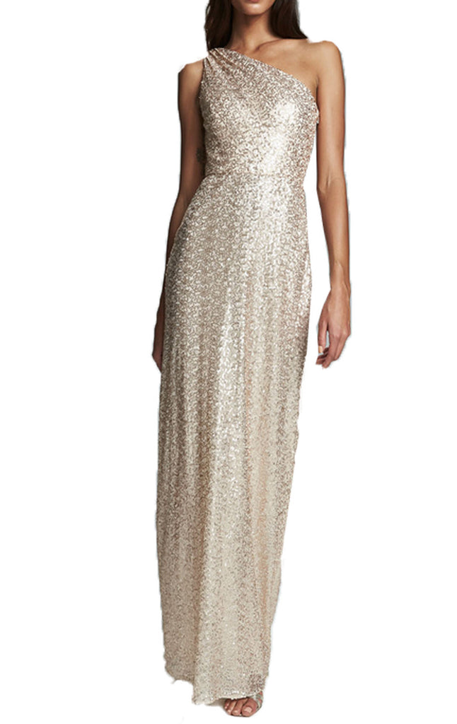 MACloth One Shoulder Sequin Long Prom Dress Champagne Formal Evening Gown
