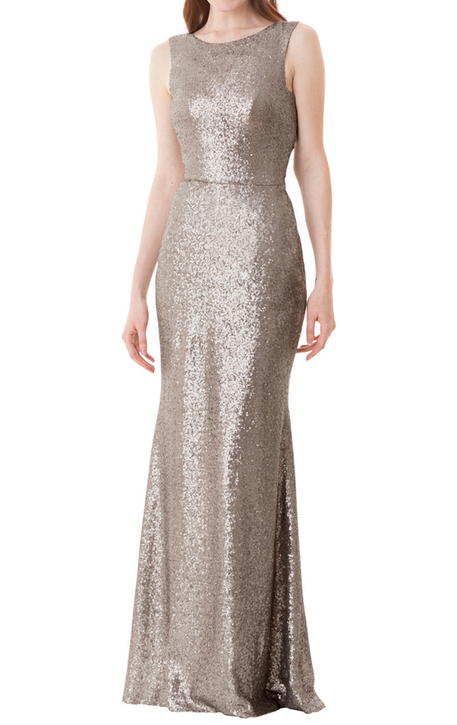 MACloth O Neck Sequin Long Bridesmaid Dress Gray Formal Evening Gown