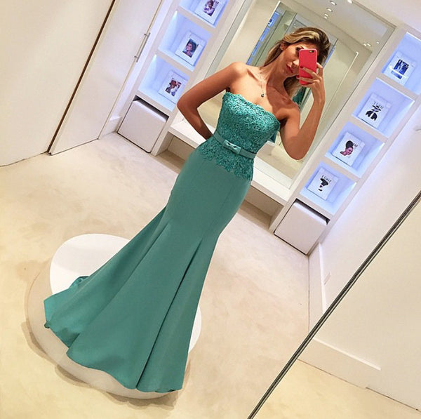MACloth Mermaid Strapless Lace Jersey Long Prom Dress Formal Gown