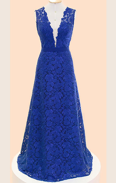 MACloth Straps V neck Lace Maxi Prom Dress Royal Blue Formal Gown