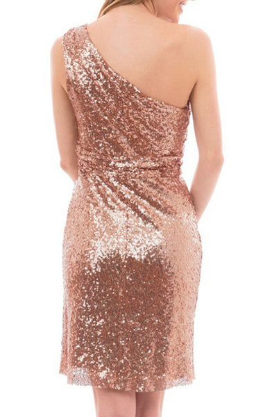 MACloth One Shoulder Sequin Short Bridesmaid Dress Rose Gold Cocktail Dress