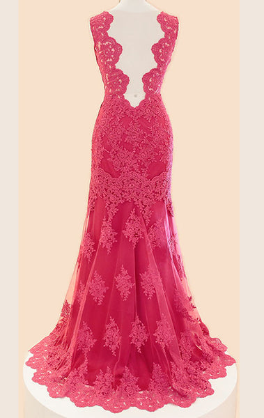 MACloth Straps V Neck Lace Long Prom Dress Fuchsia Lace Formal Gown