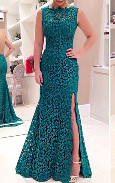 MACloth Mermaid Lace Prom Dress with Slit Teal Evening Formal Gown