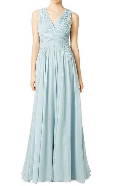 MACLoth Straps V Neck Chiffon Sky Blue Formal Gown Simple Prom Dress