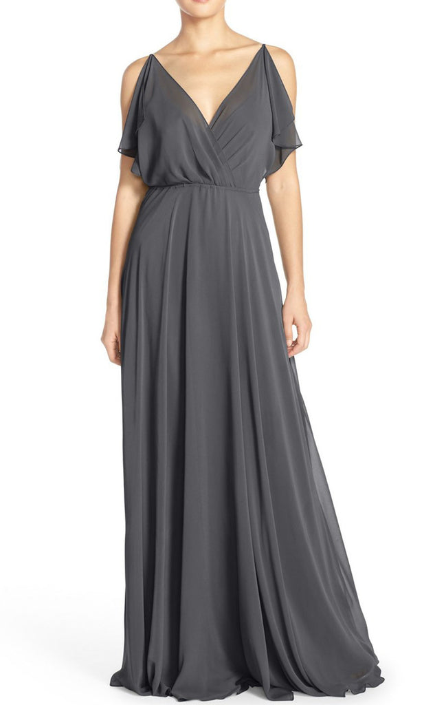 MACloth Straps V Neck Chiffon Long Prom Dress Gray Evening Formal Gown