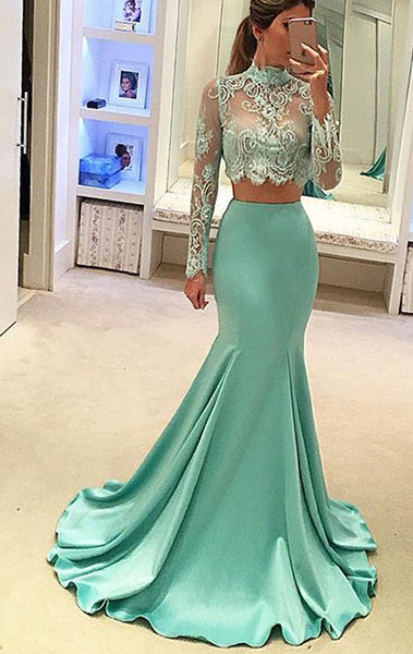 MACloth Mermaid Two Piece Long Sleeves Prom Gown Lace Formal Dress