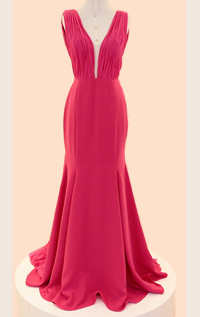 MACloth Mermaid Straps V Neck Chiffon Long Prom Dress Fuchsia Formal Gown
