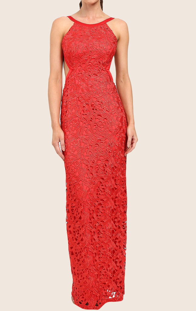 MACloth Halter O Neck Lace Maxi Prom Dress Red Formal Party Gown