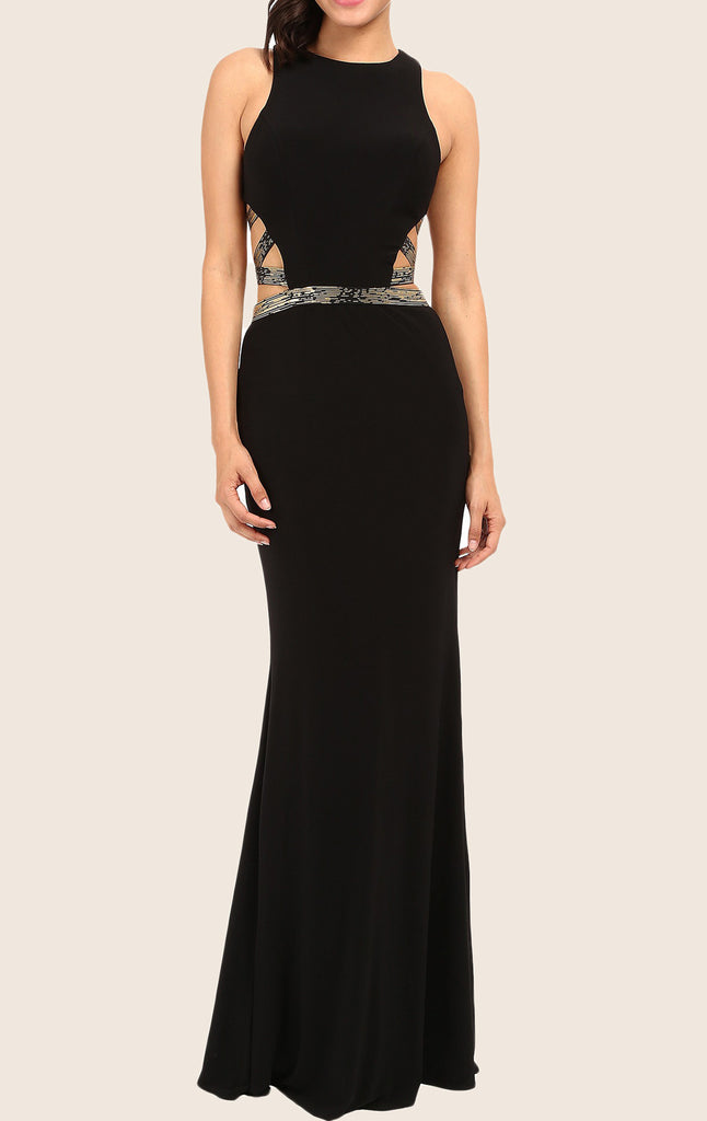 MACloth Mermaid Straps O Neck Long Prom Dress Black Evening Formal Gown