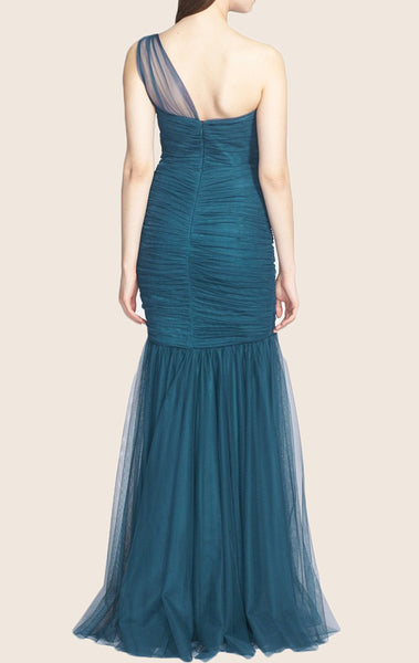 MACloth Mermaid One Shoulder Tulle Long Prom Dress Teal Formal Evening Gown