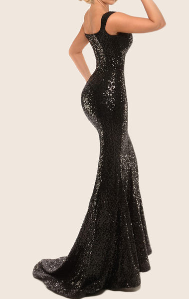 MACloth Mermaid Off the Shoulder Sequin Prom Dress Black Formal Gown