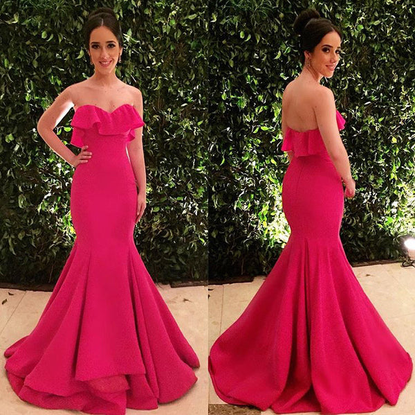 MACloth Mermaid Strapless Long Prom Dress Fuchsia Formal Evening Gown